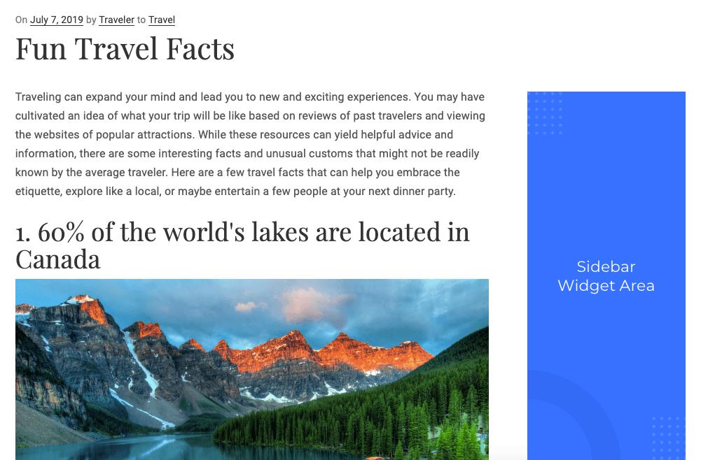 WordPress Site Sidebar Widget Area