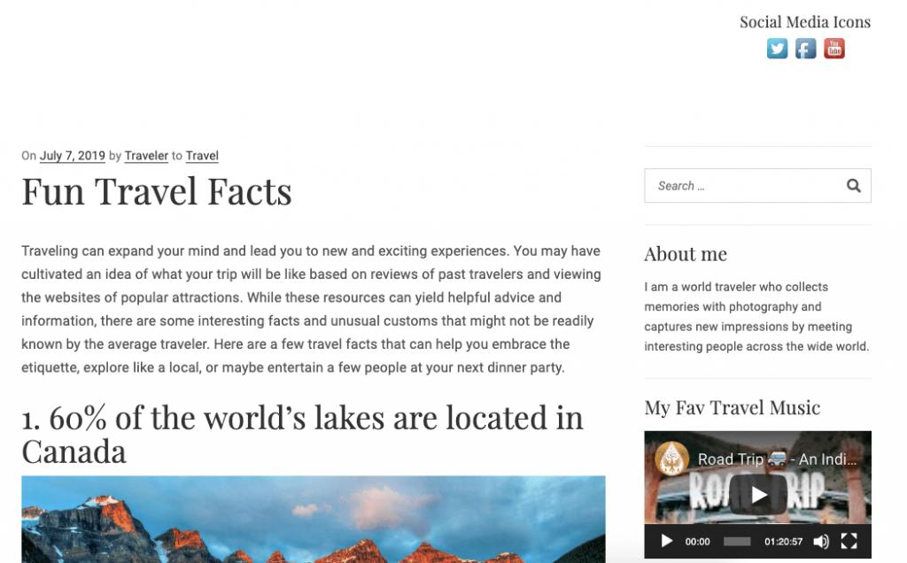 WordPress blog with Social Media Icons added using Widget