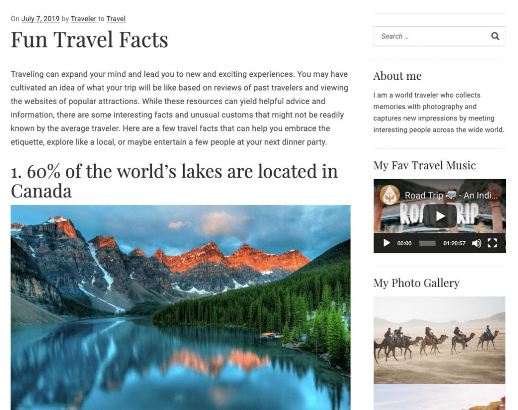 WordPress Travel Blog with Widgetized Sidebar