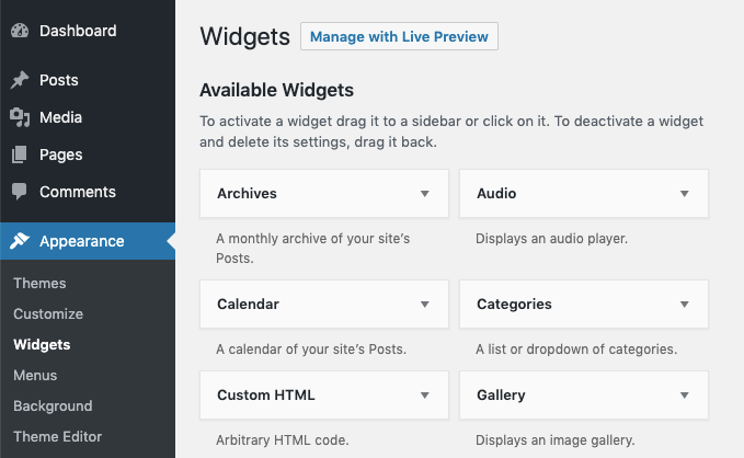 WordPress Dashboard: Appearance - Widgets
