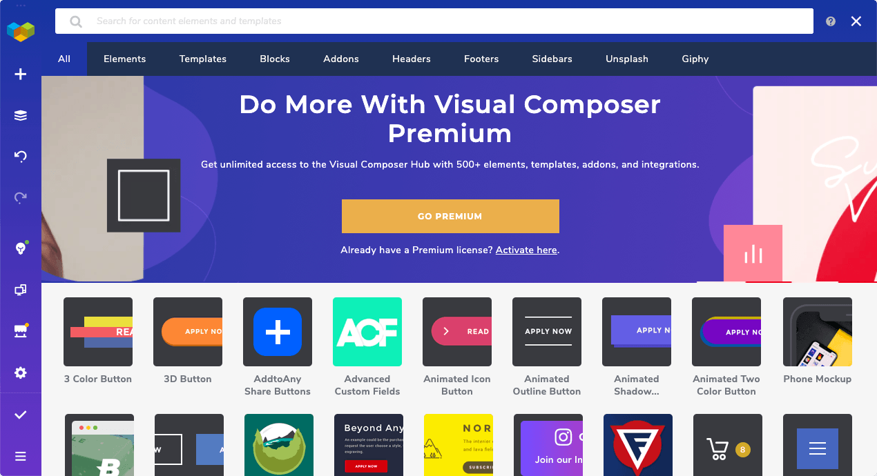 Visual Composer Hub - online marketplace