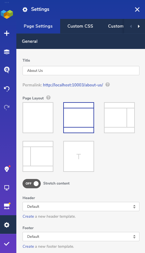Page layouts in on-page settings