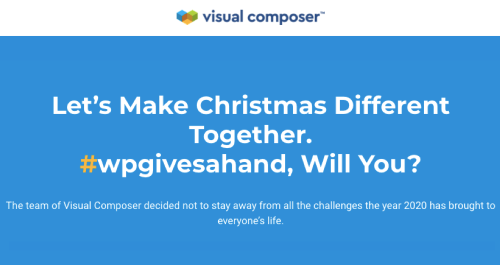 #wpgivesahand Christmas charity campaign landing page