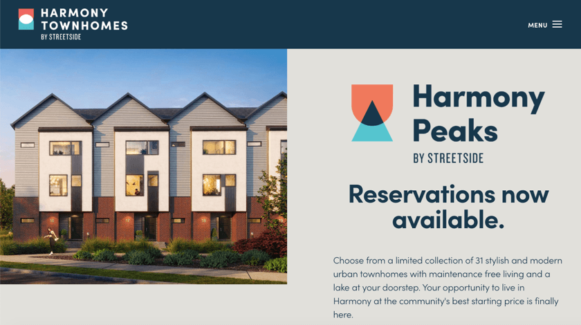 Harmony Townhomes website