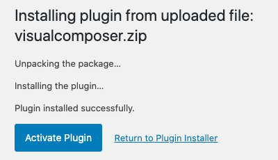 Install and activate Visual Composer plugin in WordPress