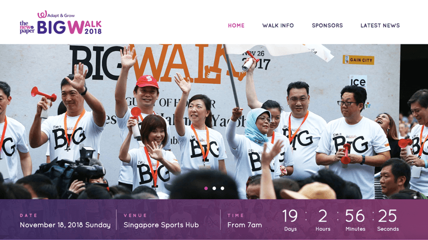 TNP Big Walk website created with Visual Composer