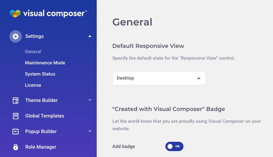 Visual Composer Dashboard