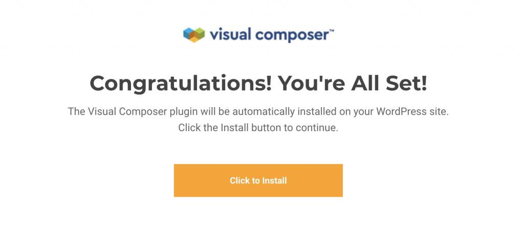 Auto-install Visual Composer
