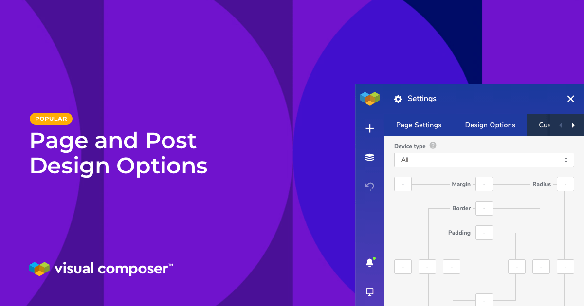 Visual Composer page design options for WordPress