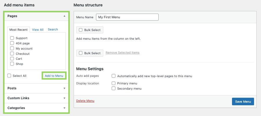 Adding content to your WordPress menu