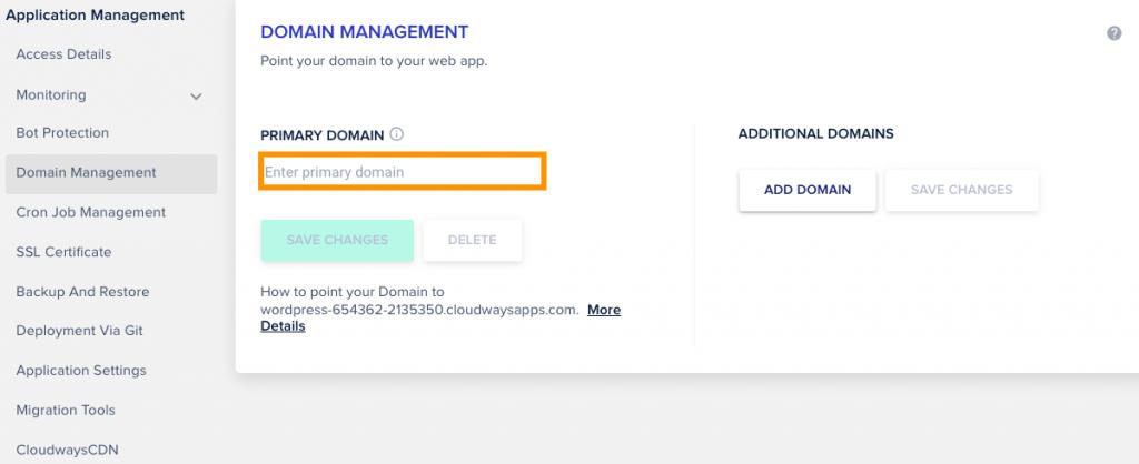 Cloudways Managed Cloud Hosting domain management settings