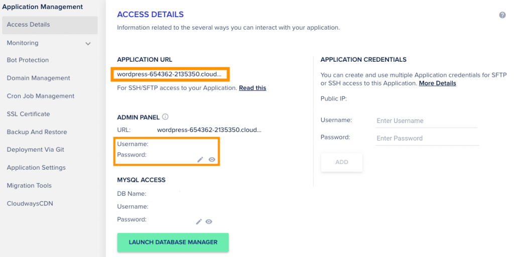 Cloudways Managed Cloud Hosting Admin Panel settings