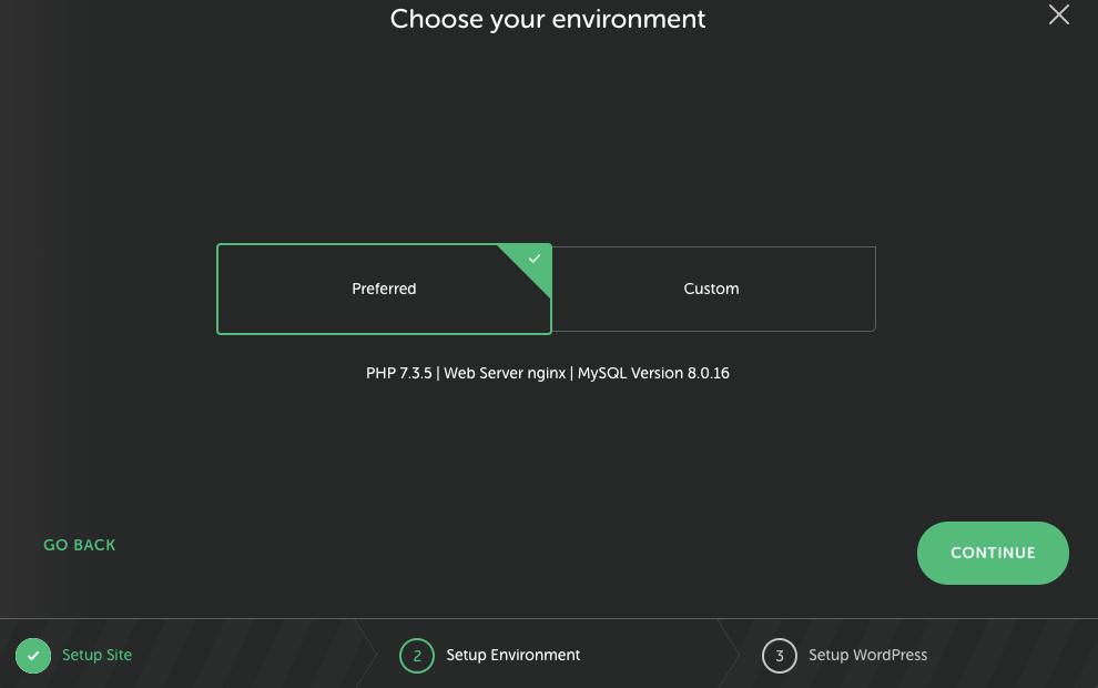 LocalWP Hosting website environment set up