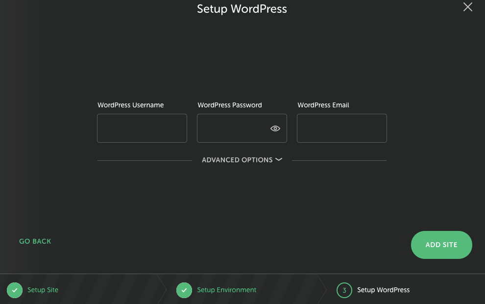 LocalWP Hosting user date set up