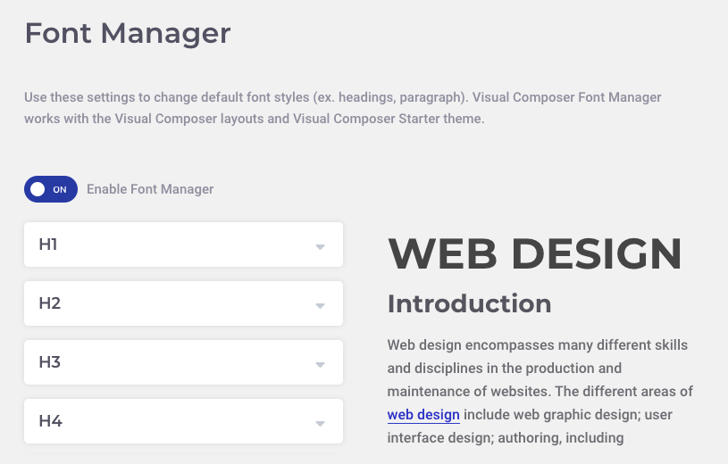 Visual Composer Font Manager for WordPress