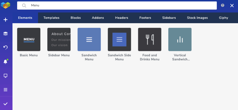 Menu elements in the Visual Composer Hub